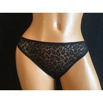 Victorias Secret Tanga Negra Transparencia Animal Print M128