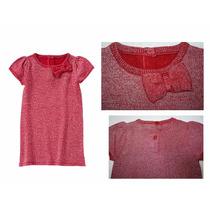 Vestido Tejido Niña Crazy 8 Rojo/plata Moño Talla 3, 4 Nuevo