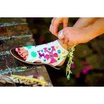 Sandalias Arte Huichol Bordadas En Manta