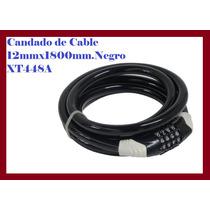 Candado De Cable 12mmx1800mm.negro Xt448a Comb.benotto Elite
