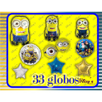 Paquete De 33 Globos Minions,decora Tu Fiesta Envio Gratis