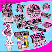 Kit Imprimible Monster High Draculaura 1600 Tarjetas Cumpl