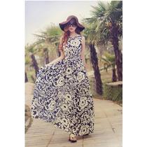076 Vestido Largo Playero Casual Decorado Floral