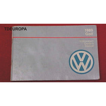 Vw Golf Gl 1989 Manual De Usuario Usado Oem Americano Gt A2