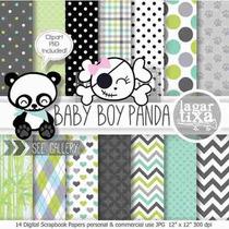 Kit Imprimible Ositos Panda 2 Imagenes Clipart