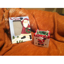 Set De Portaretrato Y Canastita Santa Claus