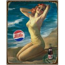 Anuncio Poster De Lamina Metalico Vintage Pepsi Girl 0045