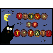 Truco O Invitación De Halloween Del Gatito Mat Interiores O