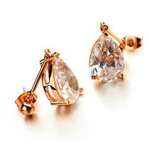 Aretes Lilinana Swarovski Elements Laminados En Oro De 18 K