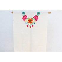 Vestido De Blusón De Tehuana Con Flores Tejidas A Mano