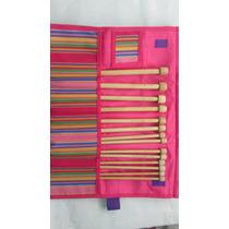 Estuche De Agujas Para Tejer Cortas De Bamboo 23 Cms