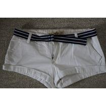 Shorts Hollister Blancos Talla 5, 27, Con Cinturon Nuevos!