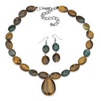 Cáscara Y Jaspe Jewelry Set En Silvertone
