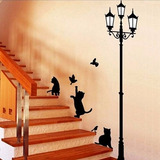 Sticker Vinil Decorativo De Pared Gatos Con Farol Escalera