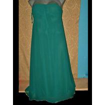 Vestido Largo Verde Strapless Degala En Talla 16 Extragrande