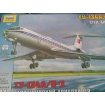Airliner Ruso Tupolev 134 A Escala 1/144 Marca Zvezda