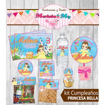 Invitacion Cumpleaños Princesa Bella Kit Imprimelo Tú!!