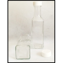 Botella Tipo Marasca Cuadrada 100 Ml Tapa Rosca Paq 12 Pzas