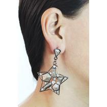 Arete Moda Largo Plateado Estrella Piedras Y Cristales Ar304