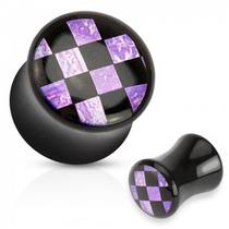 Expansor De Acrilico Diseño Cuadricula Purpura