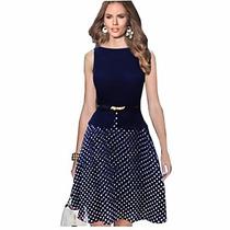 Elegante Vestido Línea A, Azul De Chifon