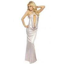 Moda 2013 Sexy Vestido Halter Largo Plata Con Amplio Escote