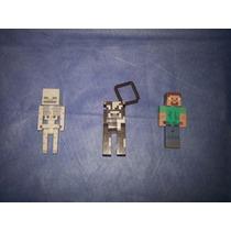 Minecraft Lote De Figuras Steve, Vaca, Esqueleto