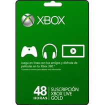 Tarjeta Gift Card Xbox Live Membresia 48 Hrs Xbox 360 Y One