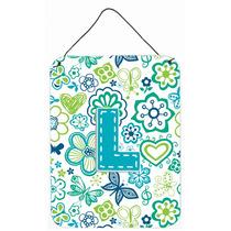 Letra L Flores Y Mariposas Azul Del Trullo Pared O Puerta Co