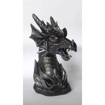 Cabeza Dragón Guardian Con Llamas Escultura De Colección