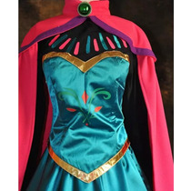 Vestido Disfraz Frozen Anna Elsa Adulto Coronación Importado