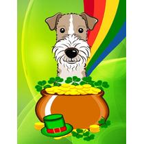 De Pelo Duro Fox Terrier St Patrick Tamaño Bandera Día Jar