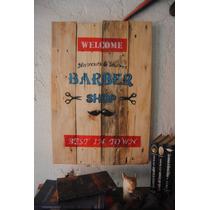 Barber Shop, Letrero Para Barberia En Madera Reciclada.