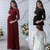 7bd70eed4 Vestido Largo De Manga Larga Con Encaje Para Embarazada