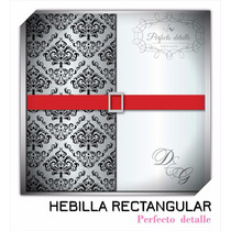 25 Hebillas Rectangular Plateadas Invitaciones