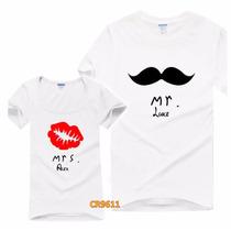 Playeras Pareja Amor Beso-bigote Personalizadas Cr9611