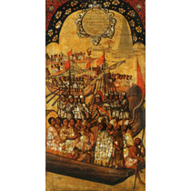 Lienzo Tela Tabla 23 De 22 Conquista Imperio Azteca 90x50 Cm