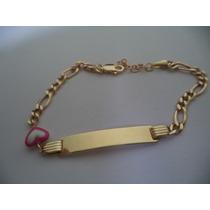 Esclava Placa Corazón Esmaltada Oro 10k
