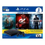 Consola Playstation Ps4 1tb Hits + Paquete De 3 Juegos
