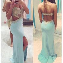 Vestido De Noche Corte Sirena Color Aqua