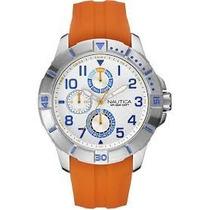 Reloj Nautica Nai12507g Naranja Nuevo Original Fechador