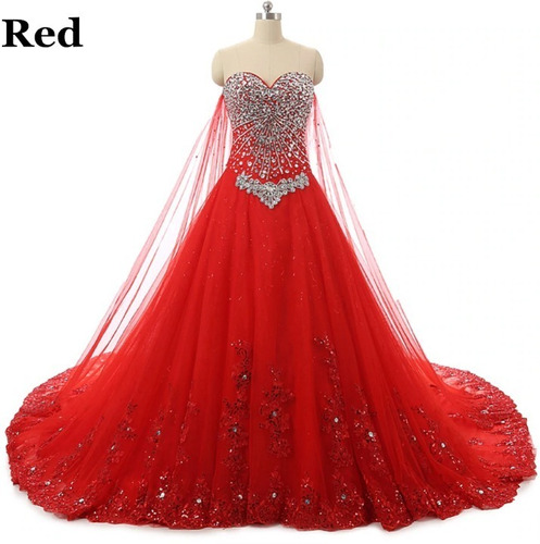 Vestido Quince Años 15 Años Xv Años Rojo Pedreria Cristal
