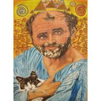 Retrato Gustav Klimt, Pintura Oleo Original, Arte Bastidor