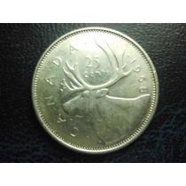 Canada 25 Centavos Elizabeth Fecha 1968 Plata Ley 0.800