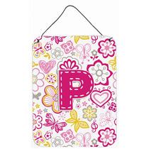 Letra P Flores Y Mariposas Pared De Color Rosa O Puerta Colg