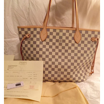 Louis Vuitton Neverfull Damier Azur Gm Lv Bolsa!!!