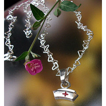 Cadena Dije Cruz Roja Cofia Hospital Enfermera Lampara Plata