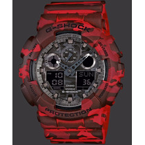 Reloj Casio G Shock Camouflage Rojo Ga100cm 4a | Watchito
