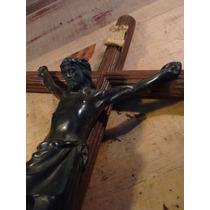 Crucifijo De Bronce Y Madera Antiguo