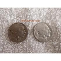 Moneda 5 Centavos Nickel Indio Bufalo 1924 Y 1925 Usa